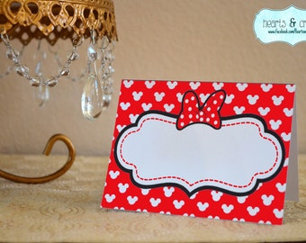 Minnie Mouse Party RED Table Tents / Food Labels / Place Cards - INSTANT DOWNLOAD diy