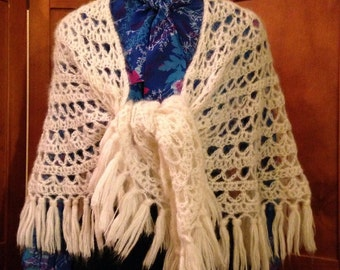 Beautiful Soft Beige Crochet Shawl