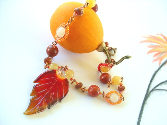 Autumn Leaf Statement Necklace Fall Color Jewelry Copper Wire Wrapped Gemstones Red Jasper, Goldstone, Yellow Jade
