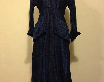 Blue and Black Floral Print 1940s Tea Length Dress
