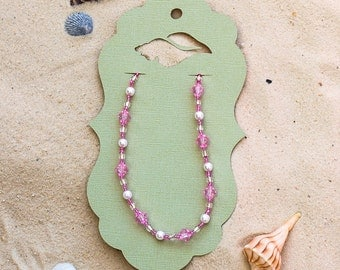 Pink Glass Bead Anklet