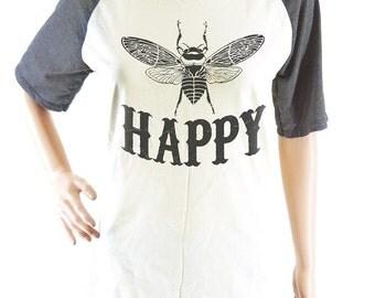 Bee Happy shirt women shirt men shirt short sleeve shirt size S M L