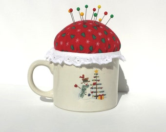 Coffee Time Red & Green Handmade Christmas Holiday Pincushion -  by FairyLace Designs