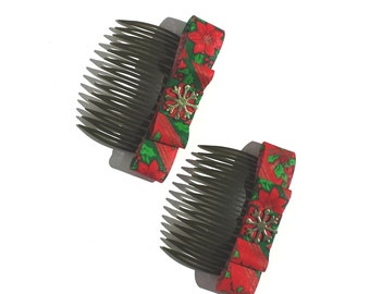 Holiday Hair Combs, Poinsettia Haircombs, Floral Haircombs, Christmas Haircombs Red & Gold Haircombs -  by  FairyLace Designs