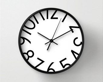 Wall clock with big numbers, numbered wall clock, black and white, home decor, colored wall clocks, modern big clock, office wall clock