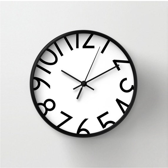Wall Clock With Big Numbers Numbered Wall Clock Black And