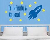 Fun Rocket Stars Space Infinity and Beyond Personalized Custom Vinyl Wall Decal Vinyl Sticker Boys Bedroom Wall Art Kids Playroom Decor