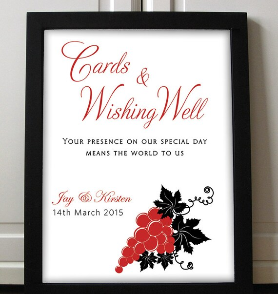 Wishing Well Sign Wedding Printable DIY Wedding Card Box