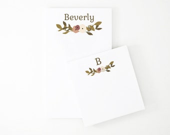 Personalized Notepad Set | Custom Notepads with Botanical Illustration and Monogram with Full Name
