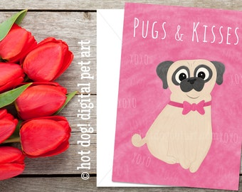 Pugs & Kisses Valentine's Day Card