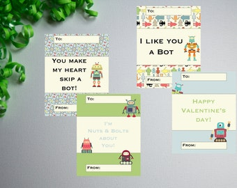 Robots 01-DIY Printable-Holiday Card-INSTANT DOWNLOAD-Holidays-Valentine-Geek-Nerd-Robots