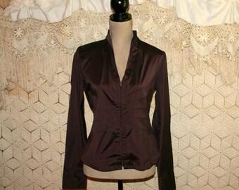Brown Jacket Lightweight Windbreaker Vintage Fall Edgy Ruched Top Long Sleeve Nylon Jacket Zip Up Jacket Medium Large Womens Clothing