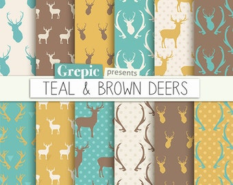 "Deer digital paper: ""TEAL & BROWN DEERS"" with woodland deers patterns, antlers, forest, reindeer, holidays, christmas, blue deers antler"