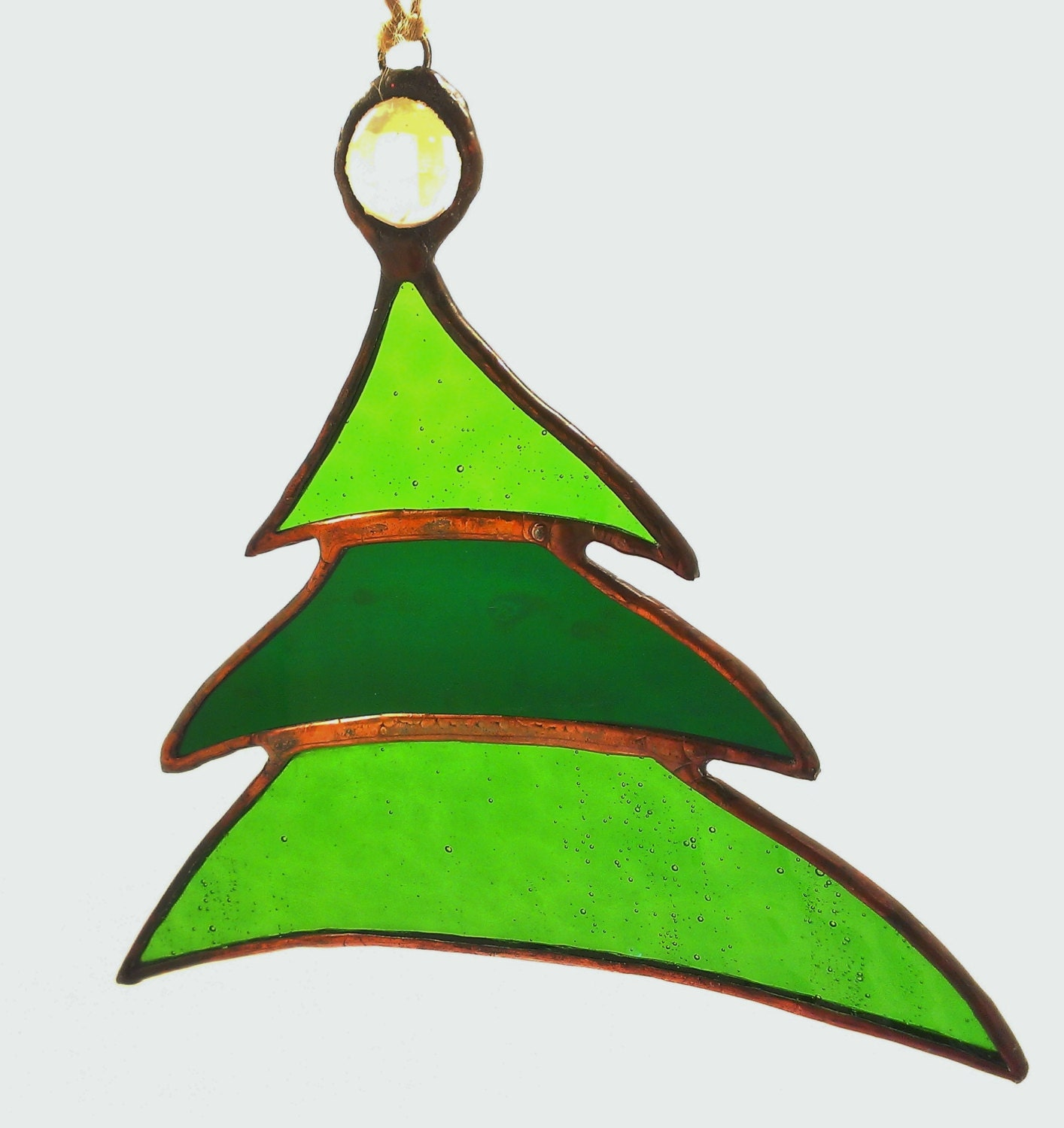 Green stained glass christmas tree ornament