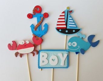 Nautical Diaper Cake Toppers, Ahoy it's a boy decor, Baby Shower Centerpieces, Sailor Baby Shower Wooden Toppers