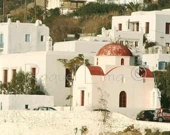 Travel Photography: Houses at the pourt in the greek island Mykonos (Μύκονος) in Greece  (Ελλάδα).