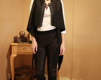 Black Sleeveless Cardigan/Black oversized Women's Vest/ Asymmetric Draped Long Vest