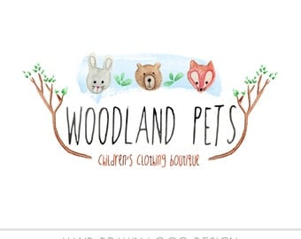 CLEARANCE - Pre made Business Logo, watercolor, woodland, bunny, rabbit, bear fox, animals, photography, painted, OOAK design - photography