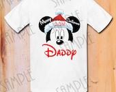 T-shirt Disney Minnie Mouse Merry Christmas Printable iron on Daddy Mickey Santa hat Printable Personalized, DIY Disney Christmas Shirt