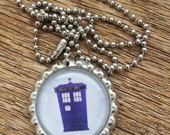 TARDIS Bottlecap Necklace