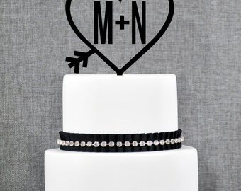 Heart Monogram Wedding Cake Topper in Two Colors – Custom Two Initials Topper, 12 Fonts 32 Glitter Options- (T111)