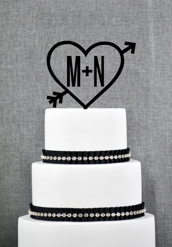 Initial and heart cake topper