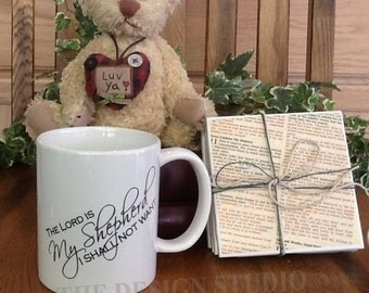 The Lord is My Shepherd, Psalm 23, Christian Mugs, Scripture Mugs, Bible Verse, 11oz Coffee Mug, Personalized