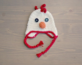 Crochet Chicken Hat, Crochet Baby Hat, Newborn Photography Prop, Crocheted Baby Hat, Chicken Baby Hat, Baby Girl, Baby Boy, Baby Shower Gift