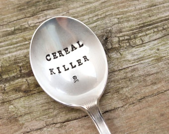 Cereal Killer Spoon - Skull and Crossbones - Vintage Hand Stamped - Antique Silver Plated - Breakfast Utensil