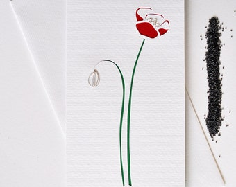 """Papercut greeting card """"poppy"""" baptism wedding invitation mother's day gift eco minimal spring wire flower white+red+green cardboard"""