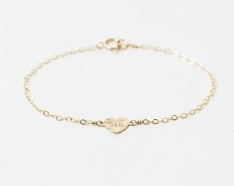 Chloe - 14k gold heart bracelet - personalised heart bracelet - initial bracelet - love bracelet - silver heart - gold letter bracelet