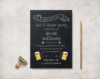 Beer and Diaper Party Invitation Printable, Diaper Baby Shower, Digital File - Chalkboard Diaper Party Invitation