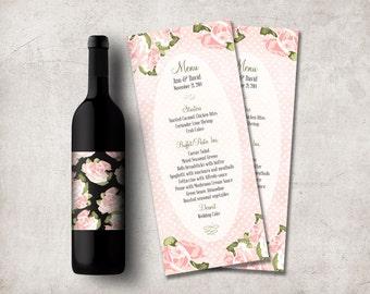 Wedding Menu Printable, Floral Wedding Menu Card, Pink Roses Wedding Menu Cards, Printable Wedding Menu, Digital File