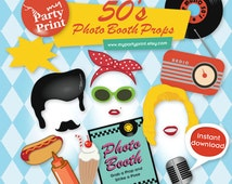 50s Party Printables Photo Booth Props with digital mustache lips comb milkshake photo booth signs for your 1950's party - Instant Download