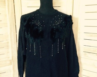 Black Mohair Sweater with Beading and Sequins