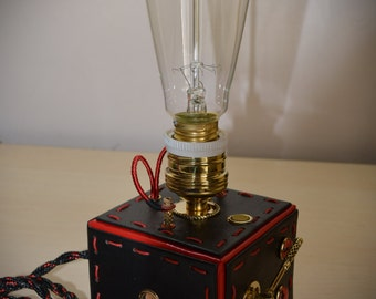 Steampunk lamp number 3,  with edison lamp, brass, leather.