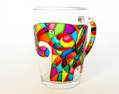 Elephant Coffee Mug, Mosaic Cup, Hand Painted Mug