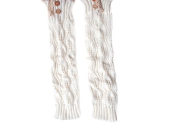 Women Knit Lace Long Button Leg Warmers, Boot Socks, Leg Sweaters, Cable Knit Socks-White