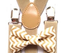 Tan suspenders + Matching Gold Chevron Bow Tie kids children toddler baby boys boy teens adult gold family photos photo prop holiday picture
