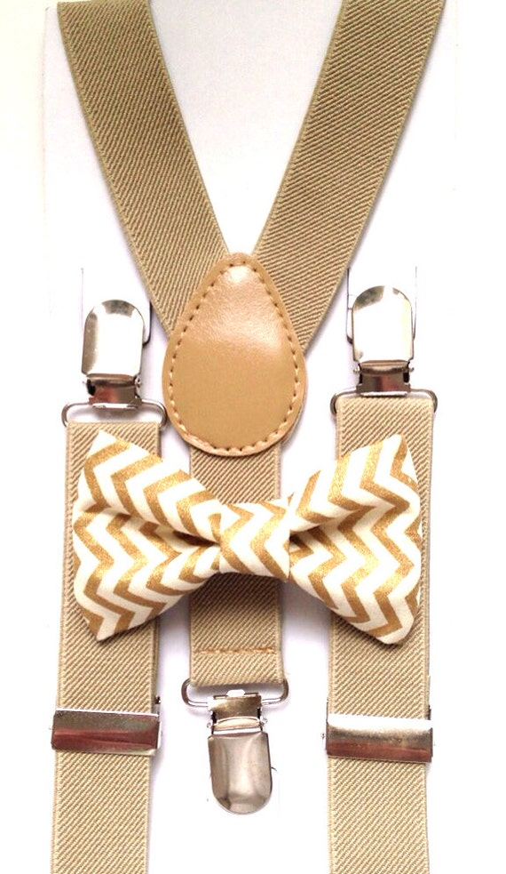 Tan Suspenders and Gold Chevron Bow Tie