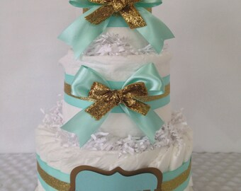 Mint and Gold Baby Diaper Cake Centerpiece, Mint and Gold Baby Shower Decoration