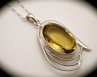 Silver and Quartz Pendant Necklace, Lemon Quartz, Silver Necklace
