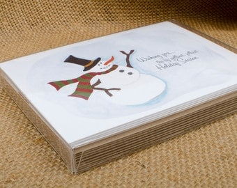 By Golliest, Jolliest Snowman, box of 8 cards, Christmas, Holiday