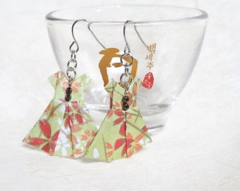 Origami Jewelry - Paper Dress Earrings - Paper Anniversary - Paper Jewelry - Origami Earrings - WY01