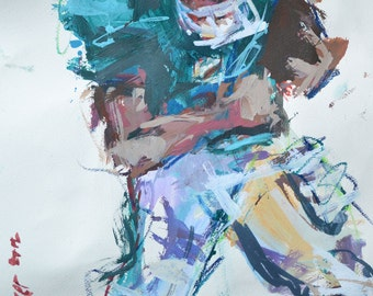 American Football Painting Miami Dolphins, Sports Painting, Mixed Media Painting