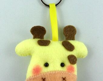 Felt Keychain. Felt Keyring. Felt Giraffe Keychain. Giraffe Keyring. Soft Felt Giraffe. Ornament. Bag Charm.
