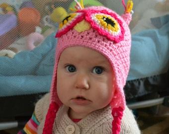 Handmade Crochet Owl hat, Toddler hat, Character Hat, Animal hat