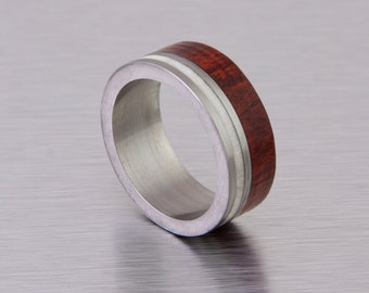 mens Antler ring titanium wood antler band red heart ring