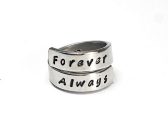 Forever Always Ring, Sister, Best Friends, Love, Friendship, BFF, Personalized Hand stamped Aluminum Ring