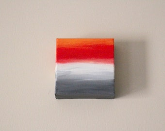 Original painting gallery canvas wall art canvas abstract art ombre painting acrylic red orange grey white office decor kitchen decor